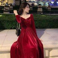 Vintage negro rojo sexy vestido de terciopelo sin espalda mujeres vintage plus size a-line maxi noche fiesta elegante niñas calle streetwear 210421