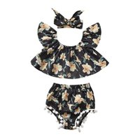 Clothing Sets Overalls 1-4Years Kids Baby Girls Floral Outfits Off Shoulder Tops + Shorts Pants Bow Headband Set