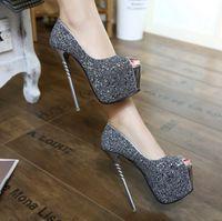 Spring 2021 new spiral heel ultra-high heels 16CM ultra-high fine heel temperament high-heel women's shoes 34-40 size single shoes
