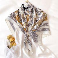 Primavera 100% mulberry seda bufanda mujeres diseñador aves caballo impresión cuadrado bandana damas accesorios de fiesta use chal Foulard Bufandas