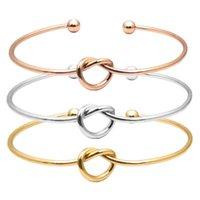 Fashion Minimalist Female Bangle Jewelry Harm Bracelets For Women Girls Rose Gold Color Bow-knot Love Cuff Bangles