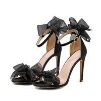 Sandales Chaussures Femmes 2021 Mariage Satiné Satiné Turge Toile Stiletto High Talons Hauts Grand Taille Poisson Bouche Bouche