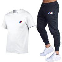 Designer 2021Nova BMW M Summer Tracksuit Summer Sets T-shirt + Calças Dois Peças Casuais Moda Masculino Sportswear Gym Marca Roupas Terno