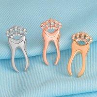 Oro argento rosa dente spilla spilla con cristallo corona dentista medico infermiera laurea regalo dono bacage risvolto pin moda allatta die 1049 q2