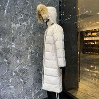Hohe Qualität Mode Stylist Daunenjacke Winter Stehender Kragen Weiße Ente Verdickte Warme Parker Schnee Casual Langarm Große Pelz Slim Mit Kapuze Mantel