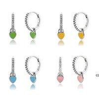 Heart Charm Hoop Earrings Fashion Women Luxury Round Circle Jewelry Studs 925 Sterling Silver Ear Buckle Crystal Rhinestone Huggie DHA8541