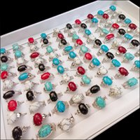 Band Jewelry50Pcs Lot Oval Natural Turquoise Rings Women Men Fine Jewelry For Anniversary Party Gift Vintage Antique Sier Ring Drop Delivery