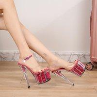 Mulheres transparentes sandálias altos saltos de altura 17 cm fetiche sapatos femininos plataformas de flores 7cm casamento senhora bombas 40-48