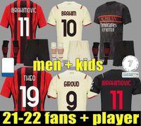 21 22 Giroud AC Milan Soccer Jersey Away Fans Versão Jogador Maignan Ibrahimovic Kessie Camisa de Futebol 2021 2022 Tonali Paqueta Bennacer Rebic Camiseta de Futbol Kjær