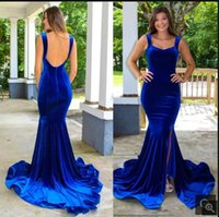 Vestido De Festa 2021 royal blue velvet mermaid evening dresses sleeveless open back sexy court train v neckline elegant prom gowns red carpet long party dress