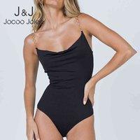 Jocoo Jolee Casual Sans manches Noir Tops Noir Femmes Sangle en Métal Strap Solide Collour solide Bodysuits élégant Sexy Club Corps de corps 210518