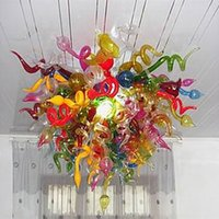 Modern Lights Pandant Lamps Chandeliers Multi Colored Creative Crystal Hand Blown Glass Murano Chandelier Hotel Lobby Decoration Indoor Lighting 32X32 Inches