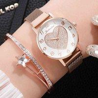 Designer luxury brand watches 2pc/set Women es Love Magnet Buckle Fashion Casual Female Wrist Roman Numeral Simple Bracelet