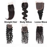 Meetu barato 8a brasileiro cabelo humano virgem 4 * 4 fechamento de renda suíça corpo de cabelo liso solto profundo onda de água encaracolado médio livre três parte