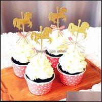 Autres fournitures festives Accueil Garden5pcs / Pack Horse Cupcake Topper avec nœud papillon Glitter Carrousel Gold Carrousel Jour de mariage Décoration de fête de mariage DIY