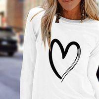 Autumn Casual Heart Print Tshirts Womens T Shirt O neck Long Sleeve Pullovers Top Loose Poleras Mujer De Moda