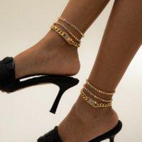 Cristallo ghiacciato con catena cubana Braccialetto di cavigliera in argento Gold Multilayer Piedi Tennis Braccialetti per le donne Summer Fashion Jewelry Will and Sandy