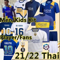 21/22 Boca Juniors Soccer Jerseys Fan Player versione 2021 2022 Tevez Maradona Carlitos Gago Camiseta de fútbol Men + Kids Kit Camicia da calcio