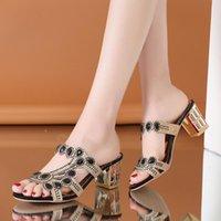 Sandals 2021 Women Summer Slipper Fashion Hgih Heels Open Toe Crystal Ladies Rhinestone Bohemia Beach Flip Flops