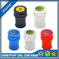Honeypuff 2in1 컨테이너 3 부품 4 층 전자 담배 플라스틱 그라인더 허브 그라인더 보안 담배 흡연 초본 손 뮬러 DHL