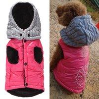 ملابس الحيوانات الأليفة الوردي / رمادي الكلب هوديي دافئ الصوف سترة للكلاب الصغيرة معطف الشتاء التطريز سترة هدية عيد