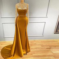Gold Side Split Mermaid Evening Dresses Crystals Beaded High Neck Long Sleeve Lace Appliqued Sexy Women Prom Pageant Gowns 2021