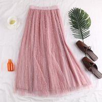 Skirts Spring High Waist Show Thin Dot Nail Bead Puff Skirt Double Layer Mesh Half All Kinds Of Long Children