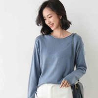 Ladies Top Long Sleeve O Neck Knit Sweater Casual Loose Solid Color Small Jacket Large Size Pullover 2021 New