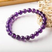 8mm forma rotonda Genuina naturale viola ametista cristallo rotondo pietra preziosa perline braccialetto per uomo donna braccialetto di stretch 1135 q2