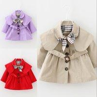 Baby Girls Poats Весна Осень Топы Детская Трешевая Куртка Верхняя одежда Дети Одежда Длинные Рукава Траншеи 1735 B3