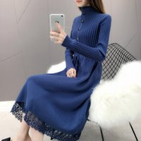 Women's Sweaters Fashion 2021 Autumn Winter Women Long Sweater Dress Pullovers Warm Knitted Pullover Dresses Lady