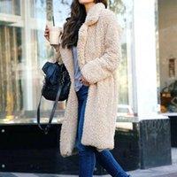 여성용 퍼지 플리스 옷깃 열기 앞 긴 카디건 코트 가짜 모피 따뜻한 겨울 아웃웨어 자켓 포켓