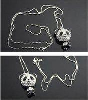 Nuevo collar de panda exclusivo brillante Rhinestone Súper encanto Panda Collar para mujer Joyería Cute Panda increíble Collares Colgantes 95 m2