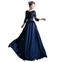 Party Dresses Fashion Slim Navy Blue Evening Elegant O-neck Long Sleeve Lace Appliques Satin Prom Gown Women Formal Dress
