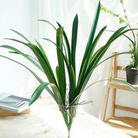 Artificial PU Cymbidium Folha Casa Jardim Decoração Acessórios DIY Tabletop Falso Verde Folhas Plantas De Casamento Decorativo Flores Grinaldas