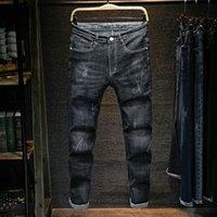 Herren Fastenzeit und Sommer Four Seasons Jeans Männer Slender Elastic Black Foot Koreaner Trend Casual Rights Broek