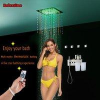 크리스탈 장식 LED 럭셔리 천장 샤워 헤드 숨겨진 온도 조절 패널 수도꼭지 수건 선반 마사지 제트 욕실 세트