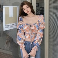 Women's Blouses & Shirts Women Blouse Square Collar Puff Sleeve 2021 Spring Long-Sleeved Top For Blusas Mujer De Moda