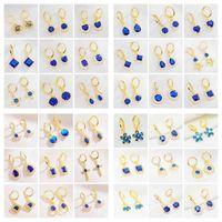 Yunkingdom 36 pares / lote blanco azul rojo cz hoop color oro pendientes de color para las mujeres conjuntos de orejas finas de moda Jewlery entero