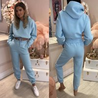 Women's Two Piece Pants Pure Color Loose Slim Fit Spring And Autumn Style Fashion Hooded Sports Training Suit Two-piece Pant Suits