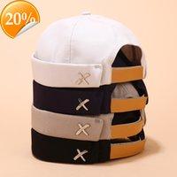 남성 여성 Skullcap 선원 모자 x 리벳 자수 따뜻한 압연 커프 버킷 무당이없는 모자 단색 조정 가능한 면화 모자