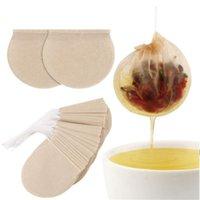100 pcs / lote descartável saco de filtro vazio ferramentas de chá de café com cordão natural de papel não branqueado descartável solto folha sacos owb8586