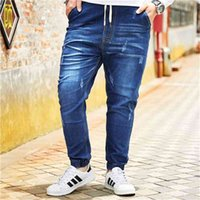 Men Peking Opera Mask ricamato Elastico Elastico in vita Jeans Moda Maschio Denim Pantaloni Plus Size 5XL 6XL 7XL 8XL 210622