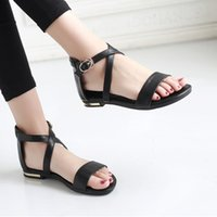 Sandals Women Cow Leather summer beach shoes woman Round Open-toed Flat Heel Black Casual Shoes Simple Fashion Style Size31-46 DHHD