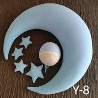 6pcs set Moon Pillow Newborn Photography Prop Baby Posing Pillow Star Hat Set Infant Photo Positioner for Studio Photo