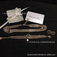Dijia autumn and winter new d family multilayer Bracelet Necklace Earrings star heavy gold chain CD words versatile OONF