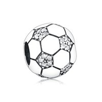 Летняя коллекция 925 стерлингового серебра сверкающий футбол футбол футбол Fit Original Pandora подвески браслет украшения