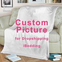 Blankets Custom Flannel Throw Blanket Personalized Po Fleece For Sofa Gift Customized DIY Print On Demand Drop