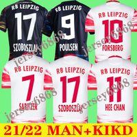 2021 2022 Leipziges Jersey SZOBOSZLAI HEE-CHAN 21 22 RBL Jerseys de futebol Konate Sabitzer Kluivert Poulsen Halstenberg Homens