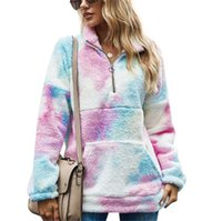 التعادل صبغ المرأة بلوزات الخريف الربيع كم طويل ليوبارد المرقعة اللون هوديي مع جيوب سحاب فضفاض مصمم ملابس النساء